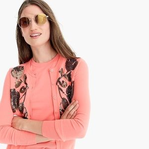 NWT Sequin floral emb Jackie cardigan sweater